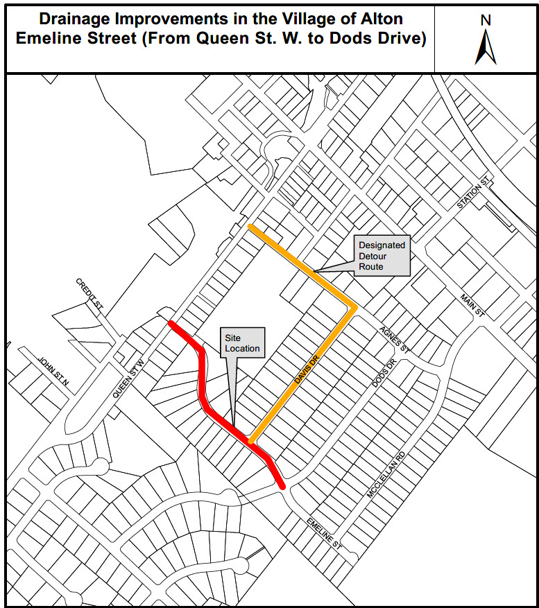Map of drainage repairs in Alton Village