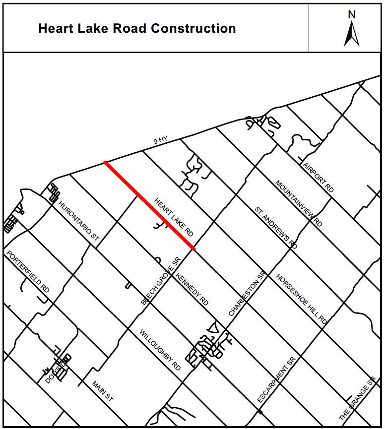 Map of Heart Lake road repairs