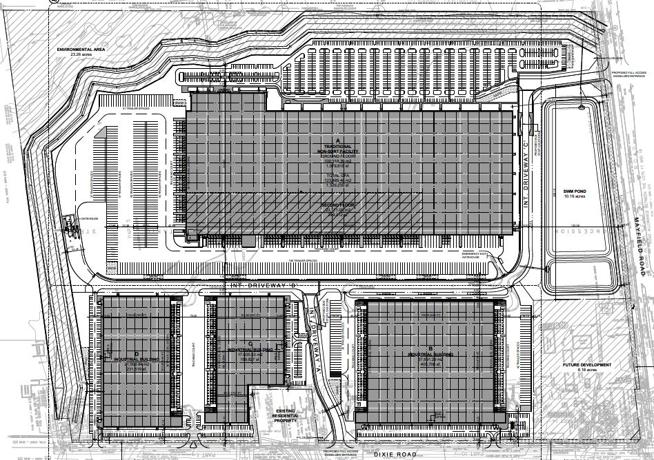 Site plan for 0 and 12035 Dixie Road